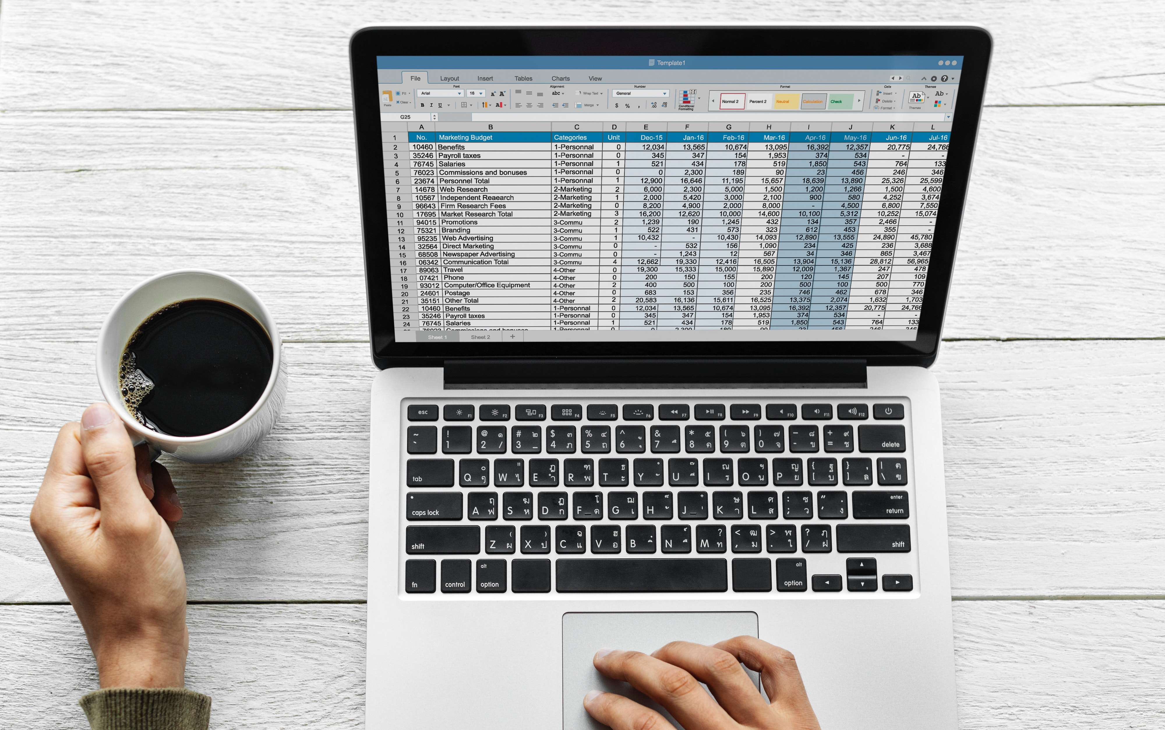 laptop with spreadsheet and coffee