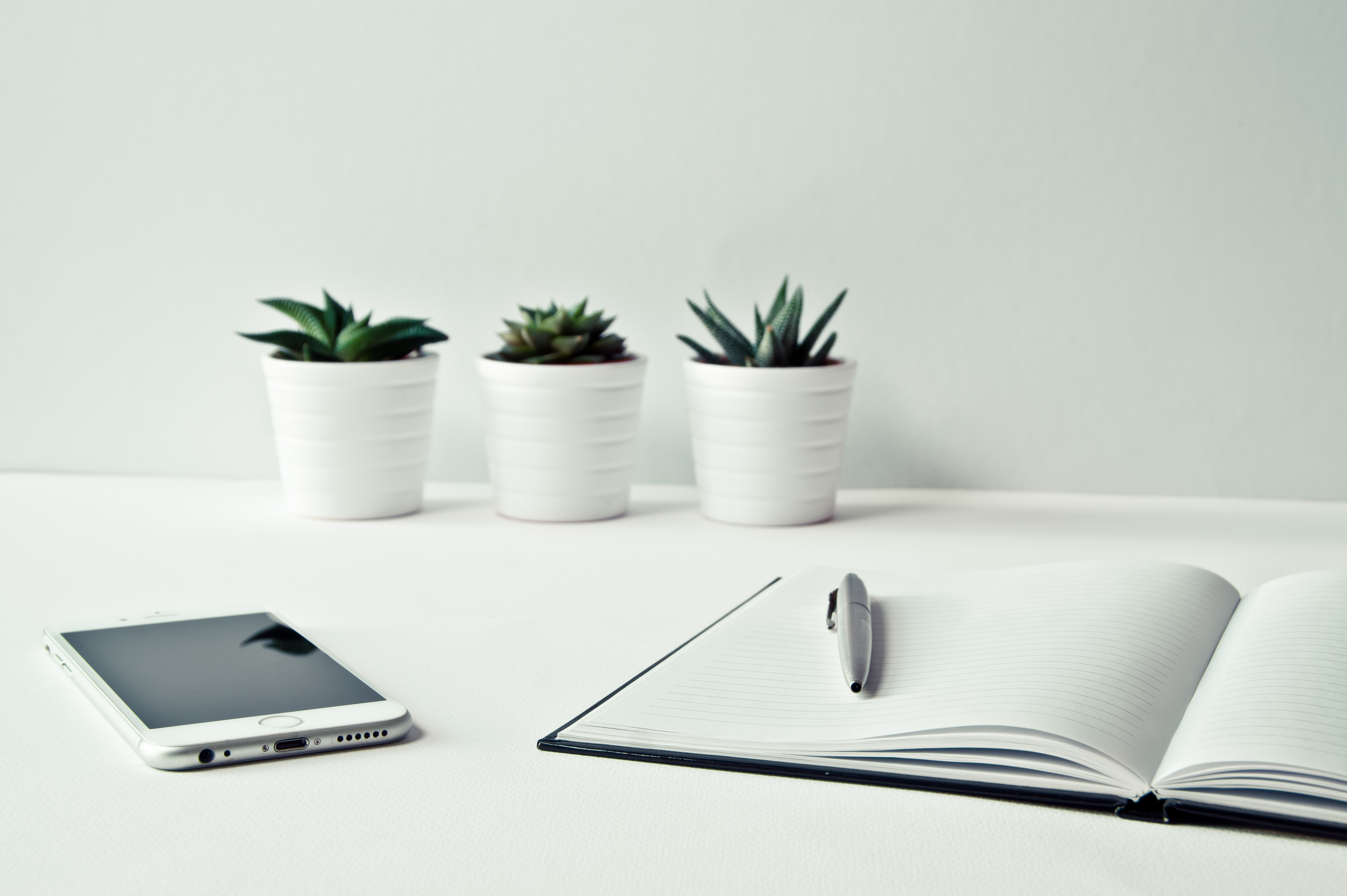 Three Succulents, Cell Phone, Notepad with Pen